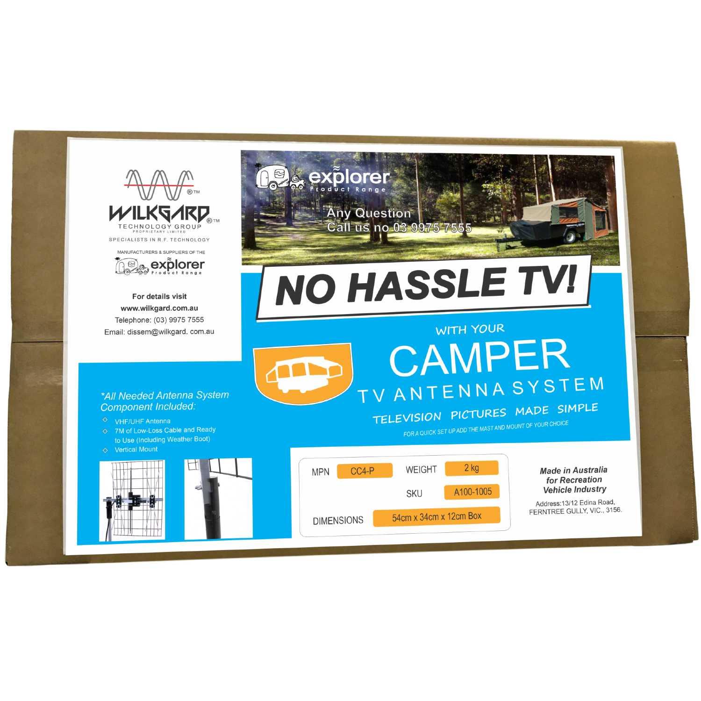 Camper No Frills TV Antenna System, UHF & VHF Explorer TV Antenna